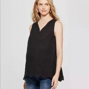 NWOT Isabel Maternity Black Eyelet Top S